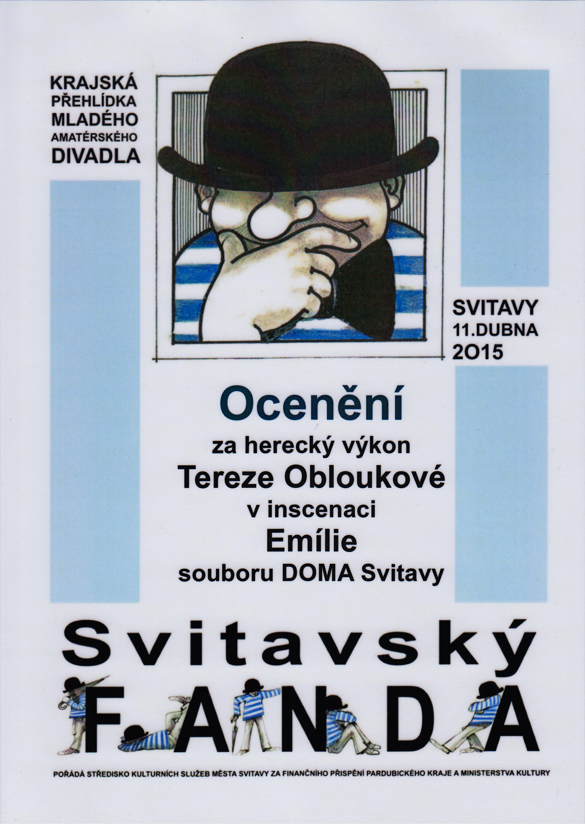 ocenění za herecký výkon Terezy Obloukové